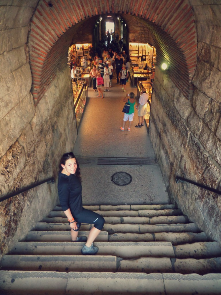Heading down into the Diocletian palace cellars - tastefully redone as bead, jewellery  and tat shops..