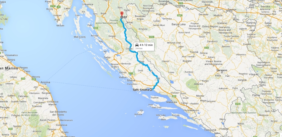Our route from Split to Plitvice national lakes park. At 250km it was the longest stretch we'd covered as a team.