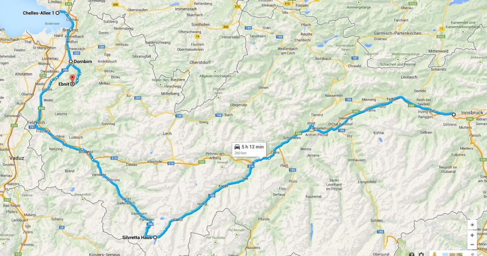 My route, Innsbruck to Dornbirn, Lindau and Ebnit!