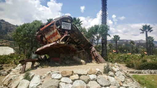 Destroyed bus left as a tribute in Yungay