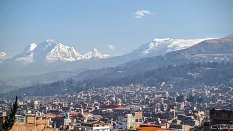 Huaraz, nestled in amongst the mountains.