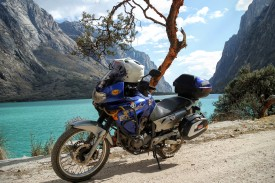 The bright brown trees and vivid blue lake was a feast for the eyeballs